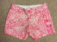 Women's Lilly Pulitzer Pink White Floral Shorts The Callahan Short Size 00