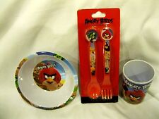 Angry Birds Mealtime Dinnerware Set Bowl,Flatware (fork and spoon) and Cup Rovio