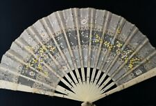 Antique Victorian bone hand fan, hand painted, floral, sequin and lace