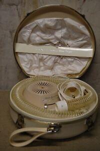 Vintage General Electric Deluxe Hair Dryer in Ivory Case w Bonnet & Curler WORKS