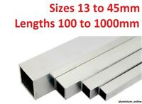 ALUMINIUM SQUARE BOX SECTION TUBE 13mm, 16mm, 19mm, 25mm, 29mm, 32mm, 38mm, 45