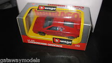 BURAGO 1/43 DIECAST LAMBORGHINI COUNTACH RED #4137 MADE IN ITALY  OLD SHOP STOCK