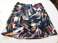 Adrienne Vittadini Women's Ladies Knee Length Skirt Size 14 Neon Glow Multi NWT