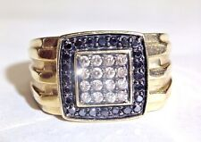 Men's .48 CTW Black and Champagne Brilliant Diamond 10K Yellow Gold Ring Sz 9