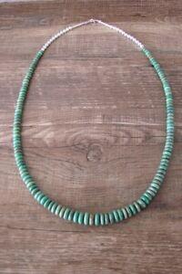 Navajo Indio Mano Cuerda Verde Turquesa Graduado Rondana Collar