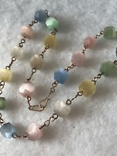 1920s Glass Necklace Geometric Opalescent Faceted Beads Antique Pastel Colours