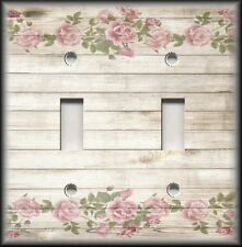 Metal Light Switch Plate Cover Shabby Chic Decor Floral Rustic Wood Design Decor