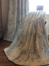Gorgeous Teal floral Linen blend Thermal Blackout Lined Curtains 2 Pairs av HUGE