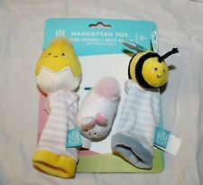 New Manhattan Toy Spring Baby Foot Finders Socks Wrist Rattle Bunny Chick Easter