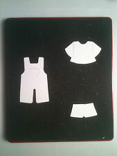Sizzix Large Red Original Die Cutter ~ DOLL OVERALLS ~ Dress Up Clothes Set Cut