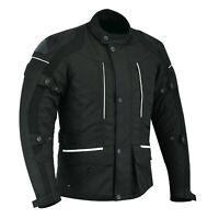 Mens Motorbike Motorcycle Long Jacket Textile Waterproof Black Motorcross Codura