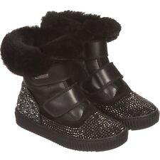 MISSOURI BABY BLACK SHEEPSKIN FUR LINED SUEDE DIAMANTE BOOTS EU 22 UK 5