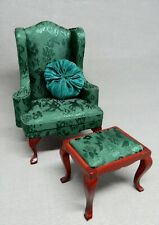 Vintage Green Wingback Chair With Pillow & Ottoman Dollhouse Miniature 1:12