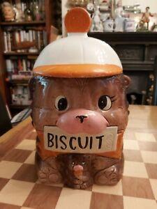 Vintage 1950s Mid Century Glazed Ceramic Teddy Bear Baby Bear Cookie Jar Japan