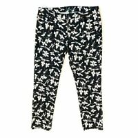 Ralph Lauren Size 12 Jeans Black and White Floral Print Stretch Straight Leg