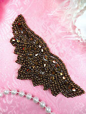 JB107 Beaded Applique Bronze Designer Motif Patch 4""