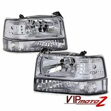 L+R Crystal Clear Replacement Headlight+Bumper Lamp 92-96 Ford Bronco/F150 Truck