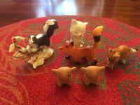 Lot of 6 Vintage Animal Figurines/Plastic/China/Porcelain/Hallmarked-60's-70's