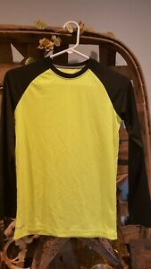 Athletic Works DriWorks Performance Active Tee LS Black & Yellow- L 10/12