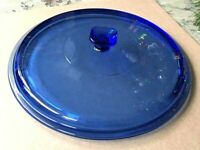 "Cobalt Blue 9 1/2"" Glass Lid Casserole Square Handle Replacement Anchor Hocking?"