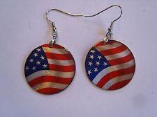Ohrring kleine runde Form mit Amerikanische Flagge aus Aluminium 3381