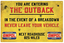 AMPOL ROADHOUSE OUTBACK WARNING VINTAGE  TIN SIGN LARGE