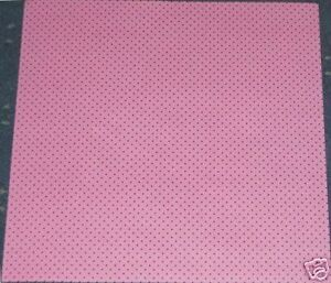 """2 SHEETS 12"""" X 12"""" """"PINK WITH BLACK DOTS"""" BACKING PAPER"""