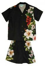 Hawaiian Style Boy Rayon Hibiscus Flower Black Aloha Set-2,4,6,8,10