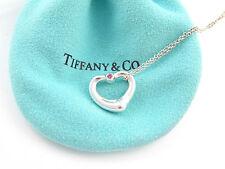 Tiffany & Co Peretti Open Heart Pink Sapphire Gemstone Necklace!