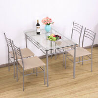 5PCS Glass Dinning Table Set 4 Upholstered Chairs Kitchen Furniture Silver