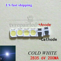 100pcs 2835 3528 6V Lamp Beads Cool White for LED TV Backlight Strip Repair