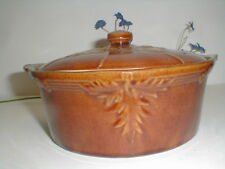 Early McCoy Pottery USA Brown Berry & Leaf Stoneware Casserole w Lid