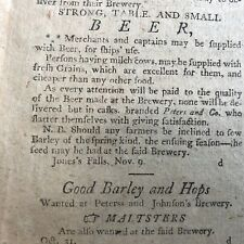 1798 HOMETOWN newspaper displ AD for BALTIMORE, MD JOHNSON & PETERS BREWERY Beer