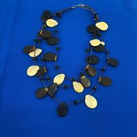 Vintage Teardrop Glass Beaded Multi Strand Estate Necklace Black, Brown & Cream