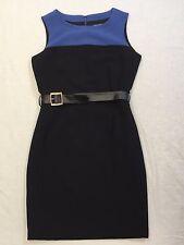 Banana Republic Black/Blue Color Block Sleeveless Lined Belt Dress Career Sz 10