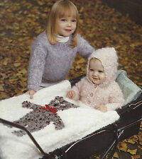 "Baby Jacket Pram Cover Blanket withTeddy motif Knitting Pattern18-24"" Chunky 370"