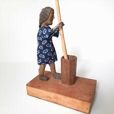 American Folk Art Push Button Action Wooden Toy Primitive Butter Churner