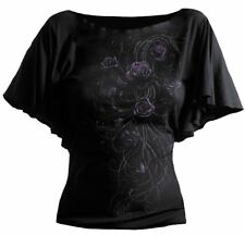 Spiral Entwined Top Viscos With Boat Neck Adult Female Small Black (dt186237-