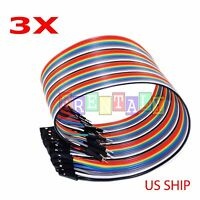 3x 40pcs 20cm Male to Female Dupont Wire Jumper Cable for Arduino Breadboard