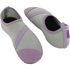 FitKicks Foldable Flat Active Flexible Shoes, Grey/Lavender Womens Medium 7-8