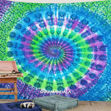 Mandala Tapestry King Size Hippie Wall Hanging Tie Dye Parrot Green Tapestry