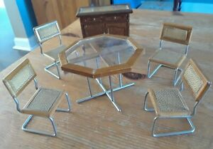 Vintage Wooden DOLLHOUSE MINIATURES ~ Dining Room Furniture set, table + chairs