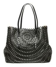 ALAÏA Alaia Scalloped Laser-Cut Studded Black Leather Large Tote Bag Handbag
