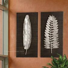 S/2 Floating Silver Leaves Wall Plaques Panels