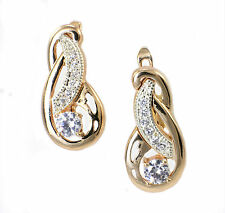 Rose Gold Filled with Swarovski Crystal Drop Earrings, French Back. Knot Design