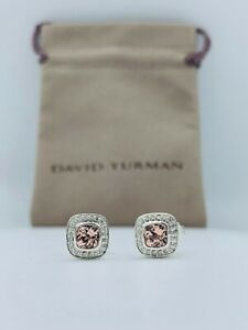 David Yurman Sterling Silver Petite Albion 5x5 Earrings Morganite & Diamonds