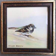 HANGING ENAMEL TILE HAND-PAINTED ON ENAMEL IN WOOD FRAME BIRD ENGLISH SPARROW