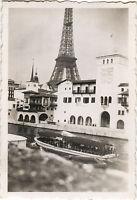 PHOTO ANCIENNE -VINTAGE SNAPSHOT-EXPOSITION UNIVERSELLE PARIS TOUR EIFFEL BATEAU