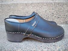 Vtg Simson Made in Holland Mens Black Leather & Wood Clogs Shoes Size 45/ 12 US