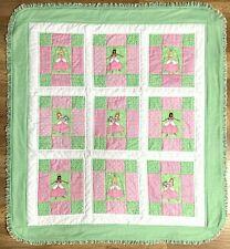 "Baby Quilt Handmade Girl's Pink Green Princess Patchwork Crib Blanket 40""x44"""